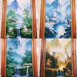 Set of 4 Asian inspired paintings