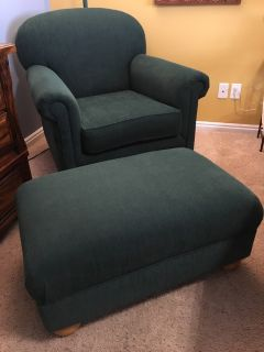 Emerald Green Chair with Matching Ottoman