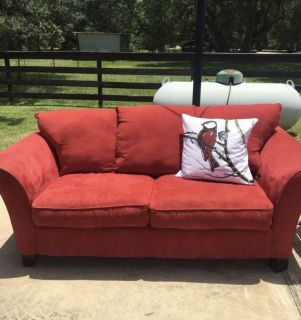 Red micofiber couch-like new