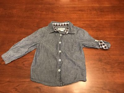 Cherokee - 24 months - Super Cute Chambray Button up w/checkered cuffs
