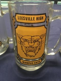 A Set of 3 Very Old Leesville High WAMPUS CATS GLASS MUGS