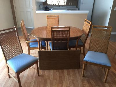 Dining table and China cabinet.