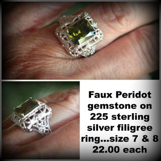 Faux Peridot set on 925 sterling silver   I have 2
