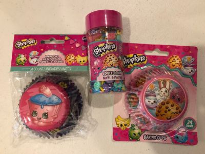 Shopkins cupcake liners and sprinkles - all new, never opened