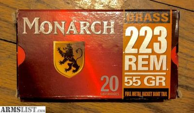 For Sale: Monarch FMJ .223 Remington 55-Grain Ammunition
