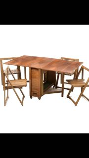 Rare Mid Century Romanian Drop Leaf Table with 4 Hideaway Chairs