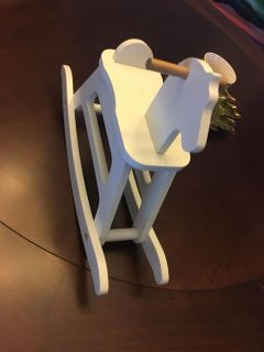 Wooden rocking horse for 18 inch doll