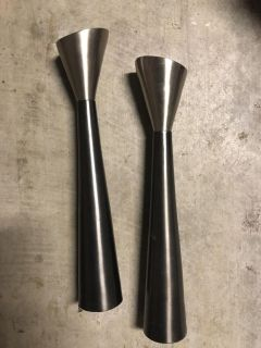 Two Toned Silver Candlestick Holders