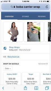 NWOT BOBA Baby Carrier Wrap
