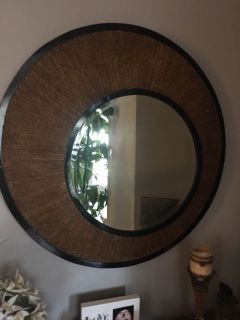 Large Bamboo and wood mirror