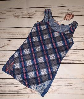NWT Kassety Blue Pink White Gray Checkered Plaid Lace Tank Top - Size S