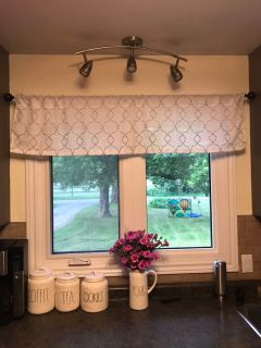 White and grey valance brand new