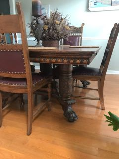 Antique donning table with buffet table and 6 chairs