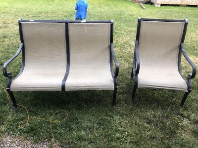 Aluminum oversized loveseat and chair