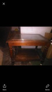 Solid wood end table with glass top