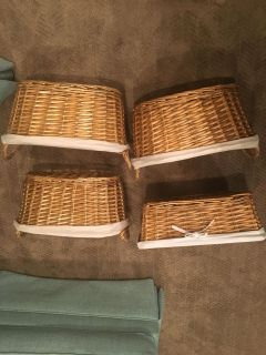 4 lined (or unlined) baskets. 1 is a 4 high x 14 x 16 , the other 3 are 8 high x 16 x 8 . Each $4
