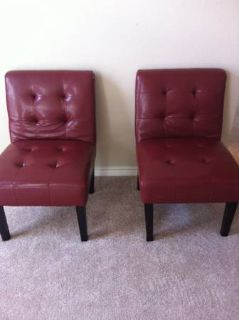 2 Red Leather Occasional Chairs