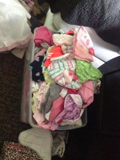 Tub full of baby girls clothes 0-24
