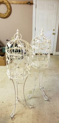 2 LARGE BIRDCAGE TYPE WROUGHT IRON DECORATIVE PIECES PRICE IS FOR ONE