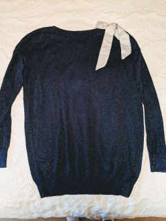 Blue Shimmer bow sweater