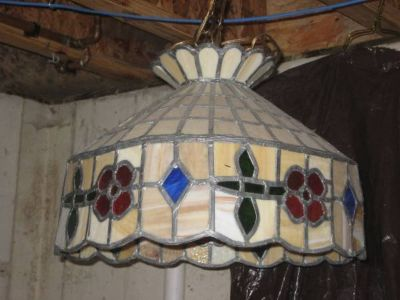 ~VINTAGE STAINED GLASS CHANDELIER~