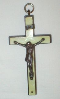 Vtg Dark Wood Cross Mother of Pearl Crucifix Pendant Rosary Nun Priest