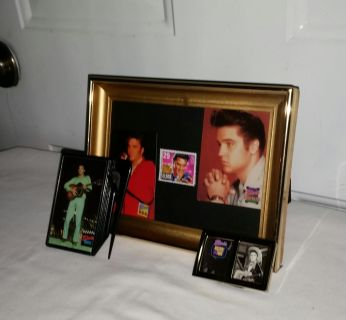 Elvis letter opener, 2 cards with vintage stamp in frame. Elvis early day photo in tiny frame. Great gift. All for $10