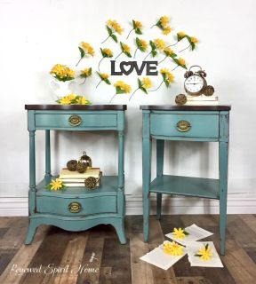 Vintage Nightstands, His and Hers, Side Tables, End Tables