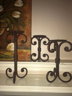 THREE Metal Candle Holders