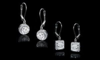 CLEARANCE ***BRAND NEW***Halo Drop Earrings Set Made With Swarovski Stones***