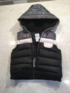 EEUC Old Navy black, grey and white vest. Size 6-12 months. Has hood.