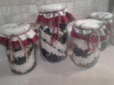 Kitchen Decor Vintage 60's-70's Ball Mason Jars Filled w/Black Beans & Rice