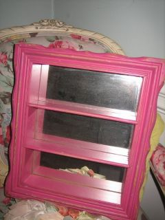 vintage pink mirror with shelves / shadow box