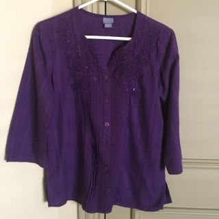 Laura Scott button-front tunic top with embroidery & sequins Size Small