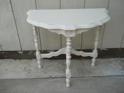 Vintage Painted White Wood Accent Table