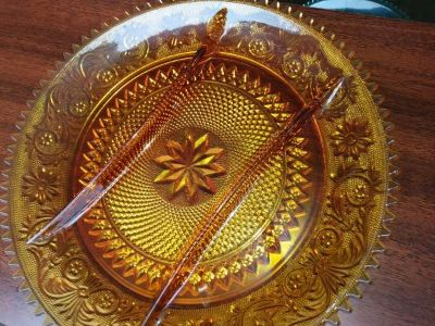 3-Part Relish Dish/Serving Platter in Sandwich Amber Glass Collect. by