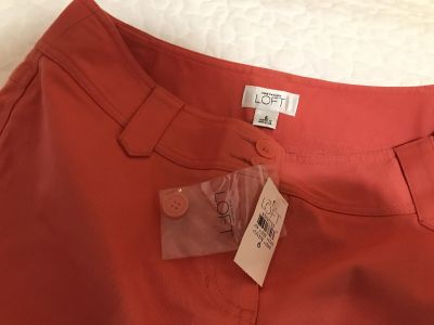 NWT Ann Taylor LOFT Coral Skirt + Extra Button Size 6