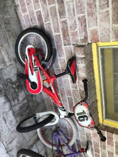 16 inch bike, very good condition. It has scrapes on the seat.