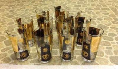 Vintage Cera Coin Design Glasses Set