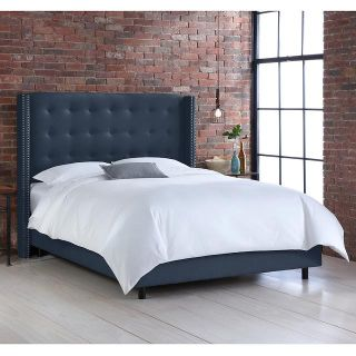 $693, Linen Navy Nail Tufted Wingback Queen Bed