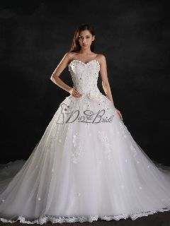 Ball Gown Sweetheart Cathedral Lace Wedding Dress