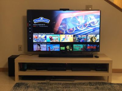 55 tv, sound bar with subwoofer, tv stand, & coffee table