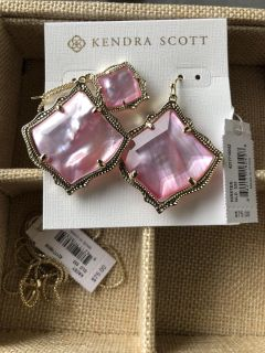 Kendra Scott earrings with matching necklace