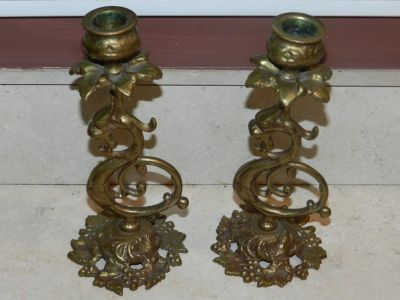 Old brass candle holders