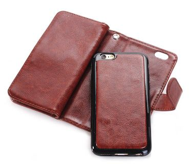 Brown Leather Wallet With A Brown Leather Iphone 8 plus Case And A Black Charging Pad