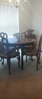 French country dining table and 6 chairs