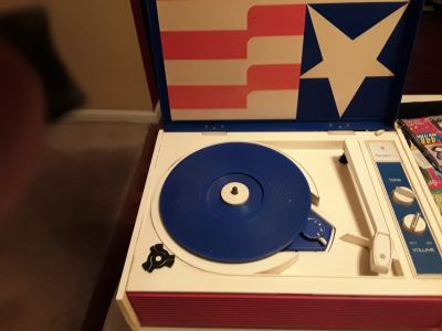 Vintage Record player red white blue