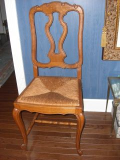 6 Solid oak splat back French Country rush seat dining chairs