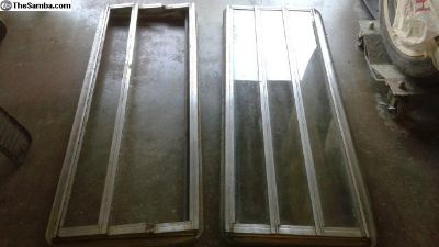 Pair used Jealousy Louvered Camper Windows