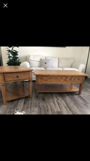 Solid Oak Coffee Table Set